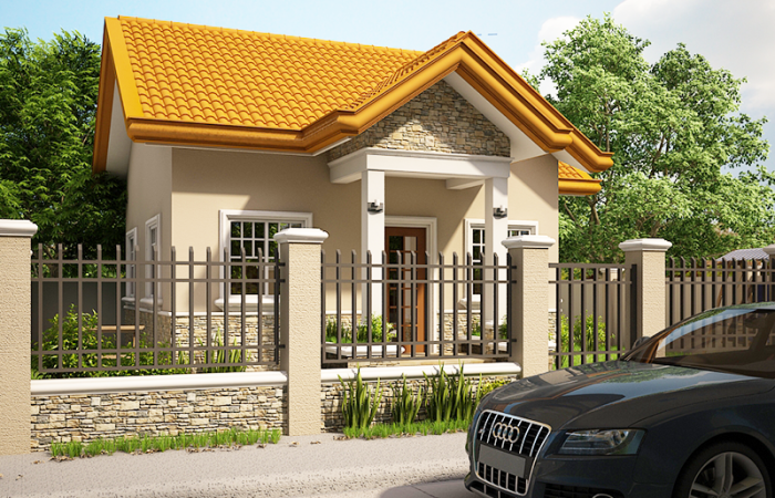 one storey house with porch