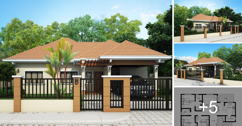 bungalow house plans. Floor Plan Code: SHD-2015015 | 121 Sq.m. 3 Beds 2 Baths Bungalow House Plans U