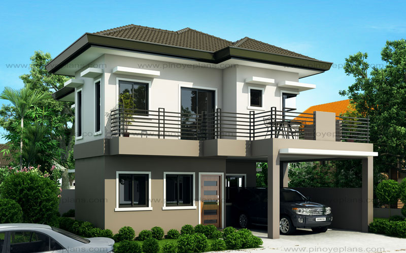 Two Storey Modern House Designs Sheryl  Four Bedroom Two Story House Design  Pinoy Eplans