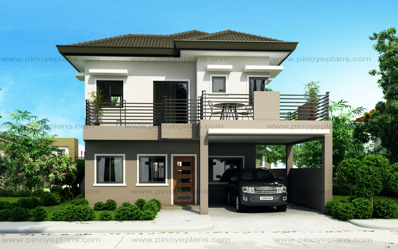 Sheryl four bedroom two story house design pinoy eplans for Small modern house plans two floors