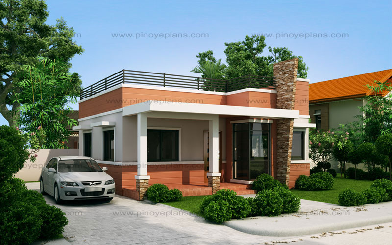 Rommell one storey modern with roof deck pinoy eplans for Simple bungalow house design with terrace