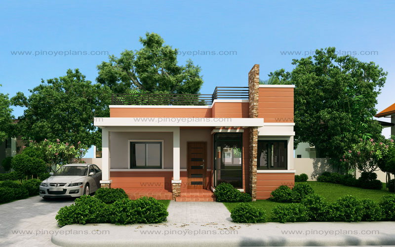 Rommell one storey modern with roof deck pinoy eplans for Small urban house plans