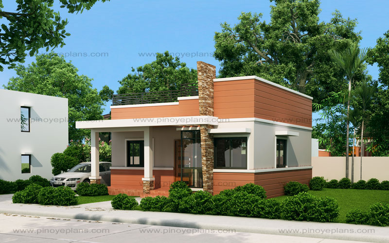 Rommell one storey modern with roof deck pinoy eplans for How much is it to build a small house