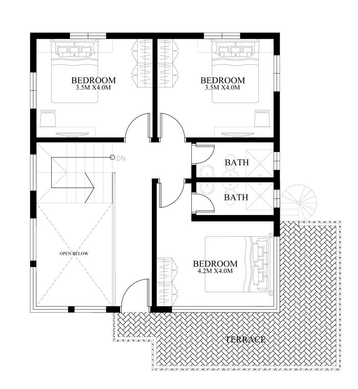 modern-housedesign-2014010-second-floor-plan