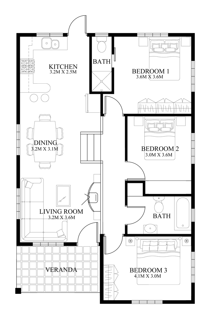 small bedroom floor plans small house design 2014005 eplans 17146