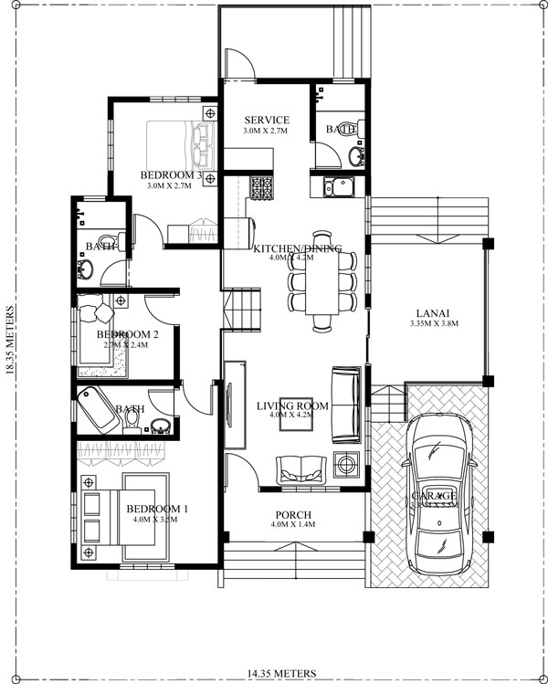 elevated bungalow house plan