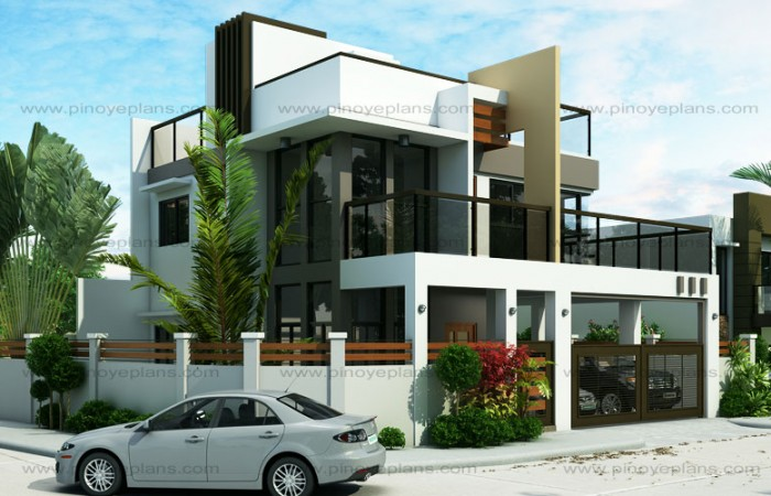 Ester four bedroom two story modern house design pinoy for Modern house design with roof deck