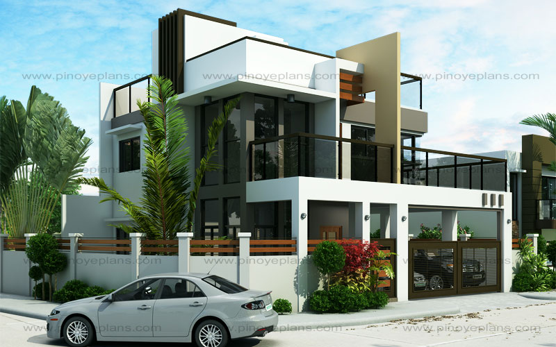 Ester four bedroom two story modern house design pinoy for 4 bedroom modern house plans