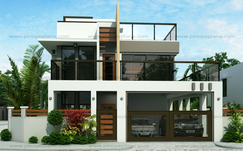Ester four bedroom two story modern house design pinoy for House garage design philippines