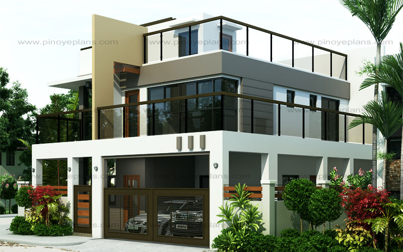 Ester four bedroom two story modern house design pinoy Home plans with rooftop deck