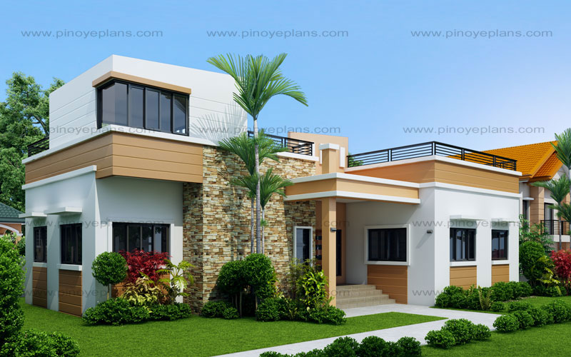 Rey four bedroom one storey with roof deck shd 2015021 for Modern 3 bedroom house plans and designs