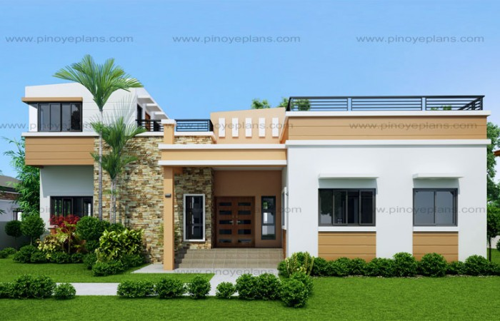 Rey four bedroom one storey with roof deck shd 2015021 for 3 story house plans with roof deck