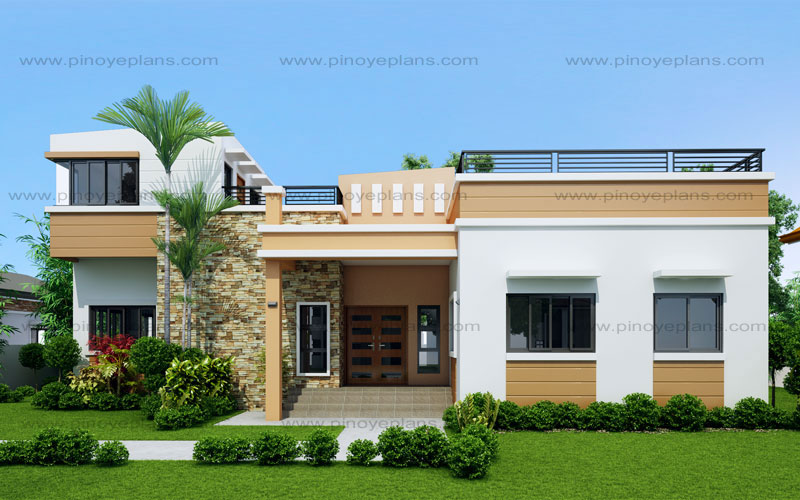 Rey four bedroom one storey with roof deck shd 2015021 for Single roof line house plans