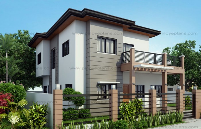 Marcelino four bedroom two storey mhd 2016021 pinoy 2 storey house plans with attached garage