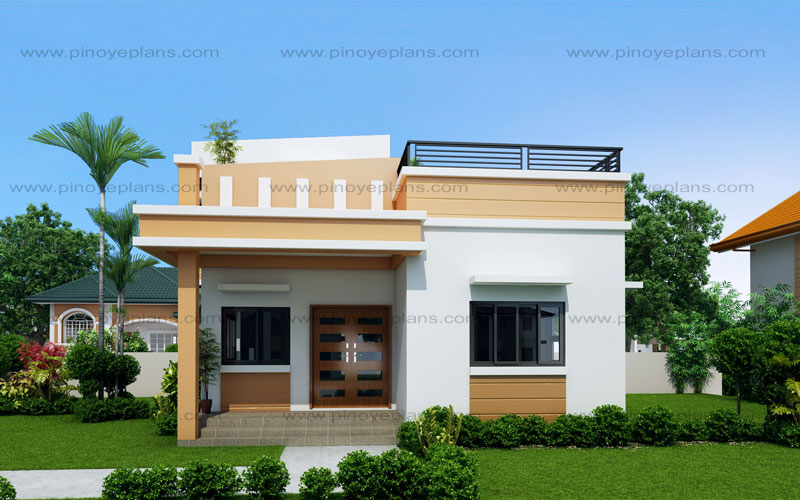 Maryanne one storey with roof deck shd 2015025 pinoy for Elevated small house design