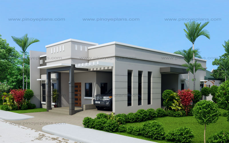 Arcilla three bedroom one storey modern house shd for Modern three bedroom house plans