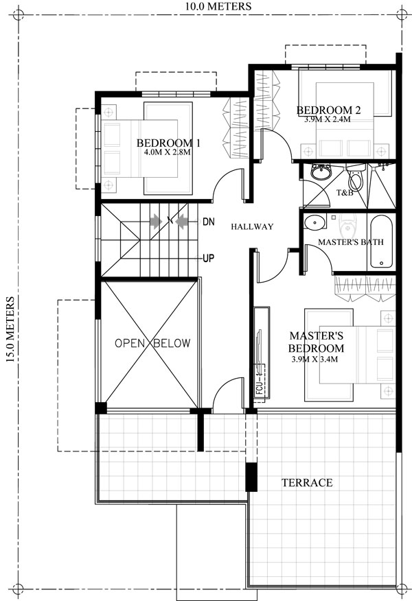 second floor plan of 2 storey house with roof deck