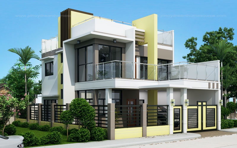 Prosperito single attached two story house design with for Two story house model