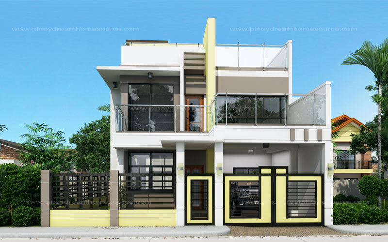 Prosperito single attached two story house design with Home plans with rooftop deck