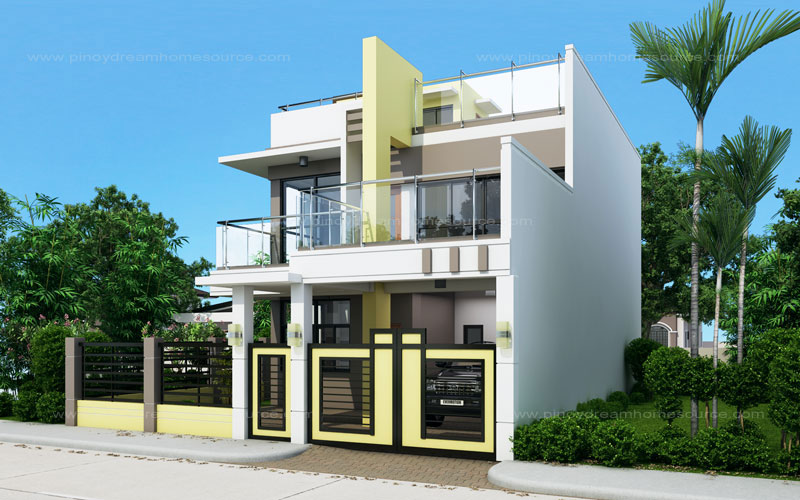 Prosperito single attached two story house design with for 2 storey apartment floor plans philippines