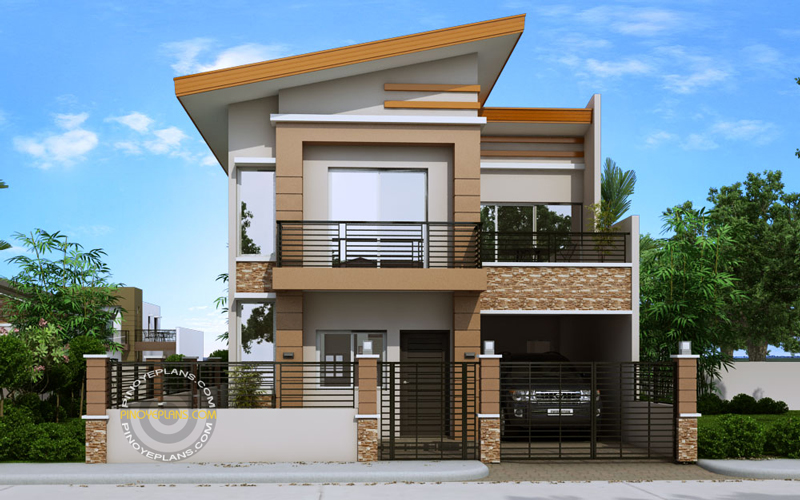 Front perspective of modern house