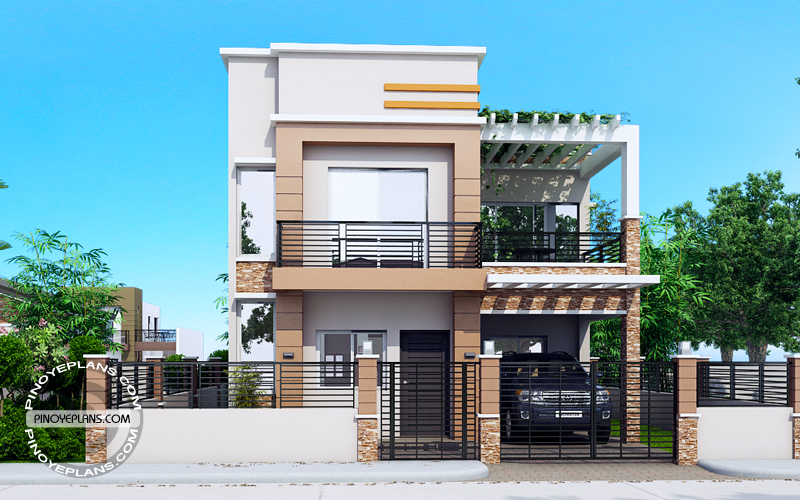 MHD 201729 DESIGN1 View02 - 50+ Pinoy 2 Bedroom Small House Design With Floor Plan Images