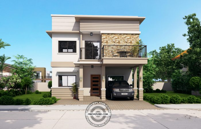 2 Story House with Roof Deck front view
