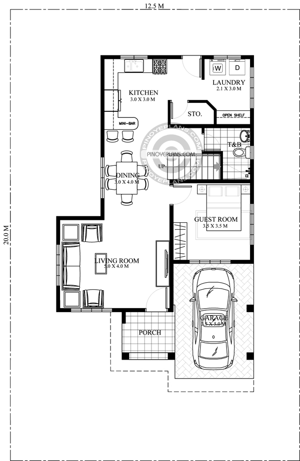 2 story house with roof deck ground floor
