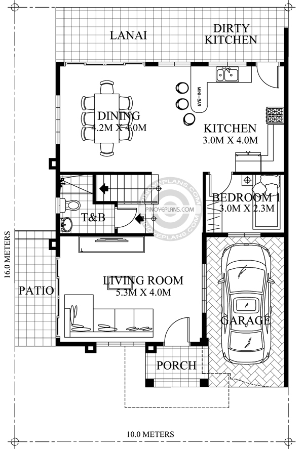 Johanne - 2 Story House Plan with Firewall | Pinoy ePlans