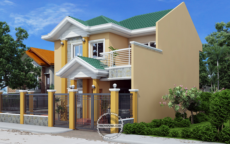 Johanne 2 story house plan with firewall pinoy eplans for 2 storey small house design