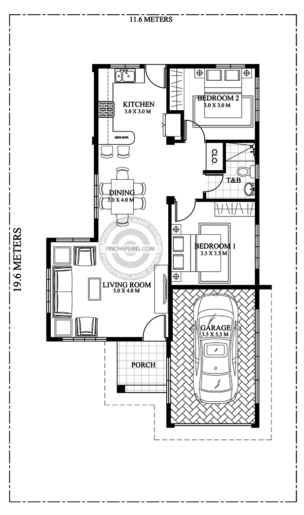 Pia confidently beautiful 2 bedroom house plan pinoy eplans for Beautiful 2 bedroom house designs