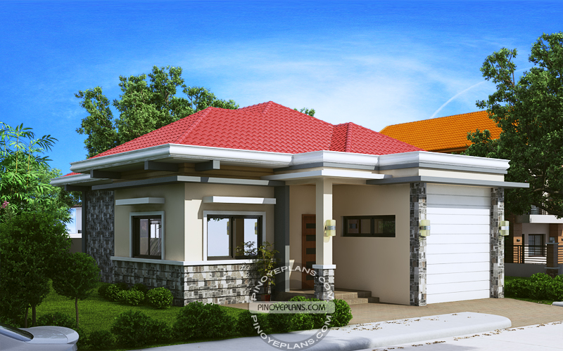 2 bedroom house plan perspective