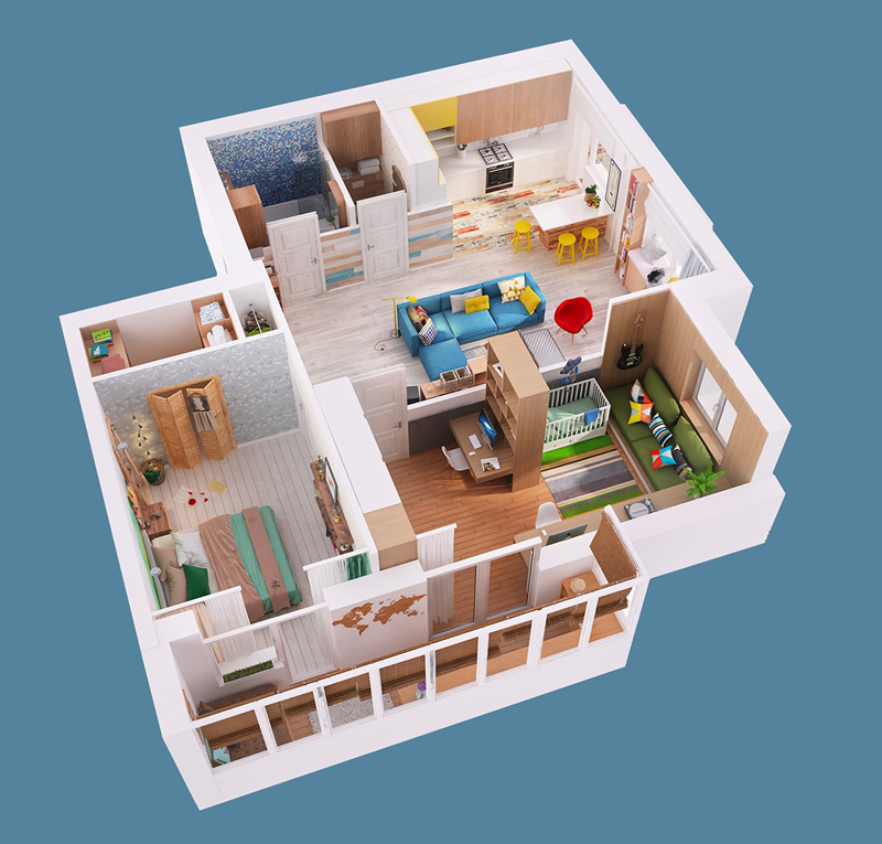 dollhouse view floor plan - Download Small Single Storey Simple House Design  Pictures