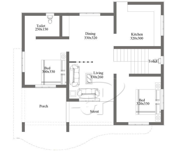 Simple 2 Bedroom floor Plan with Roof Deck | Pinoy ePlans