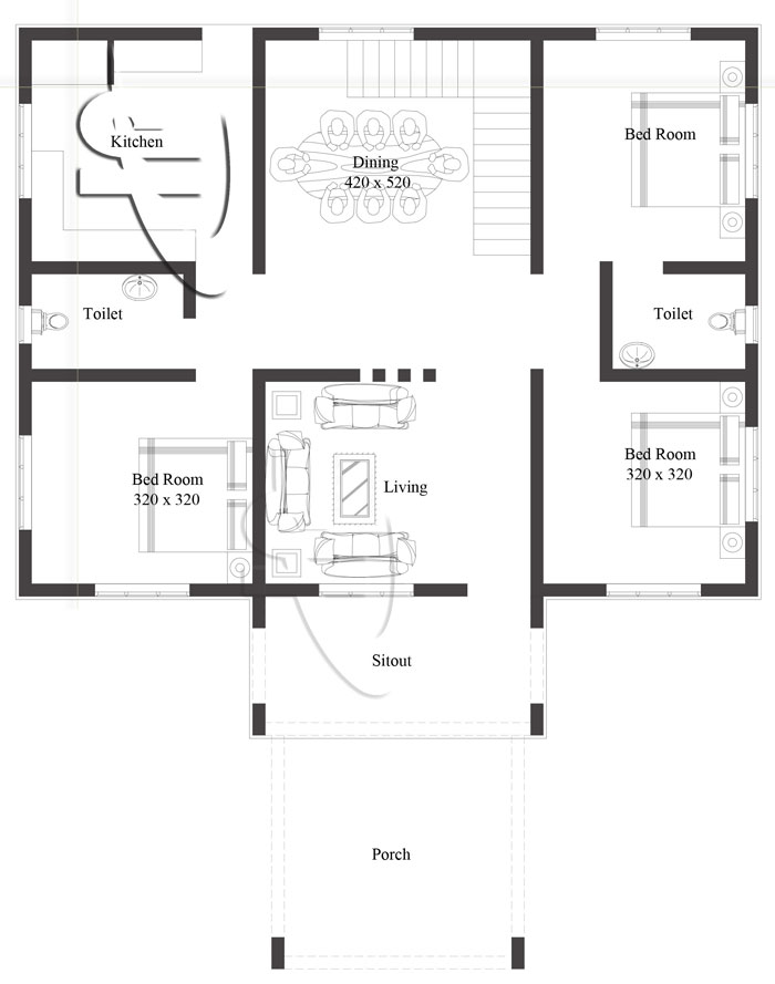 Modern One Story House Plan With Lots Of Natural Light: Modern 3-Bedroom One Story House Plan