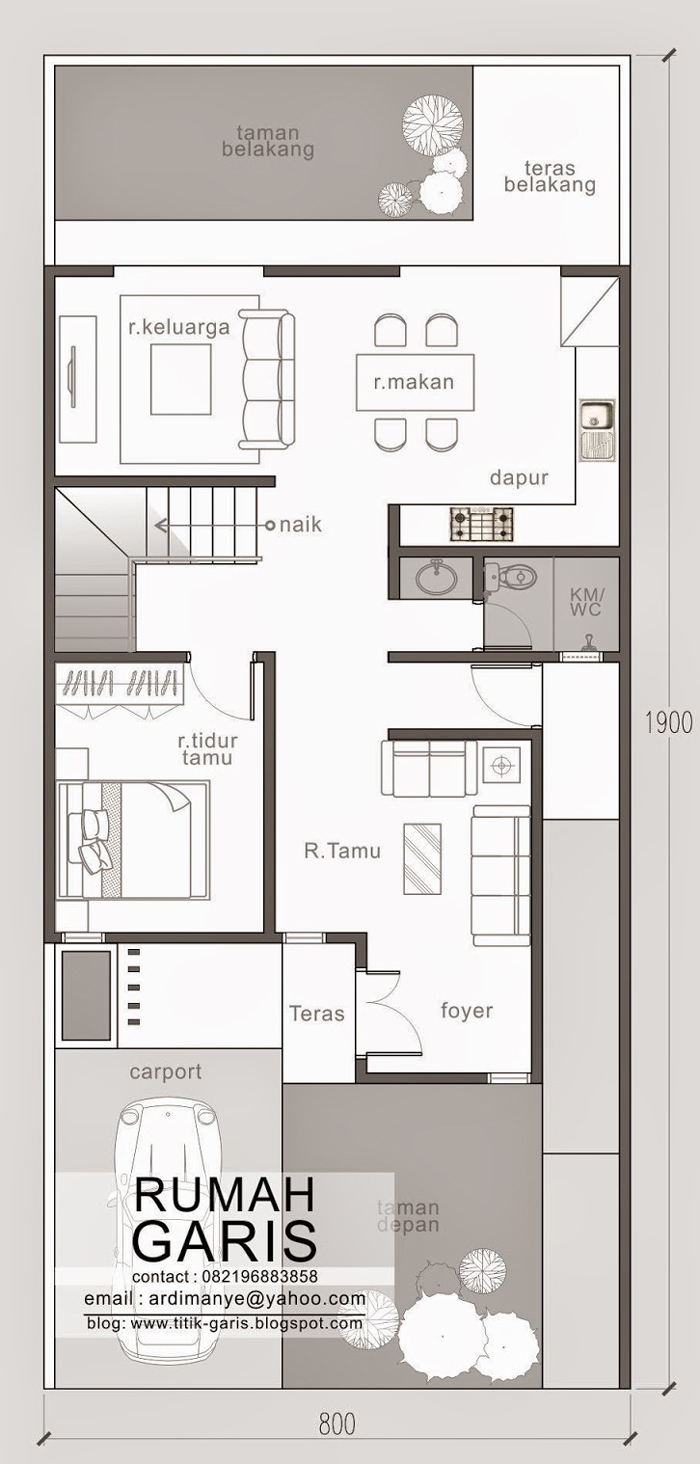 Small Two Story House Design: Two Story Narrow Lot House Plan