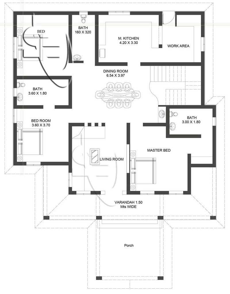 one storey with roof deck floor plan