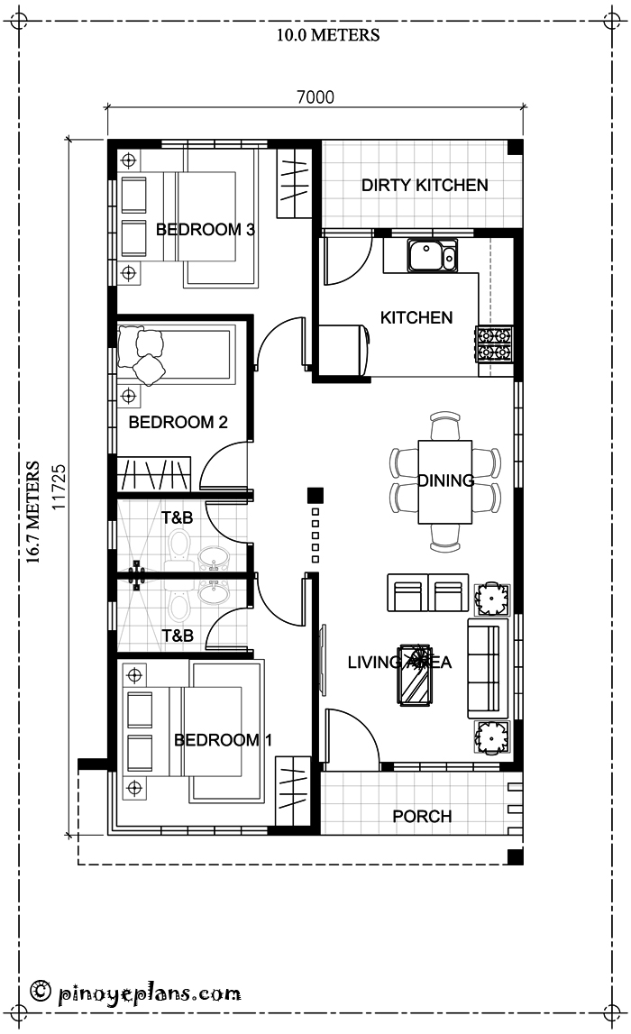 ... No Divider In Each Room Is Provided. Small Porch Upon Entry And Dirty  Kitchen At The Back Is Also Additional Features Of This 3 Bedroom House  Design.