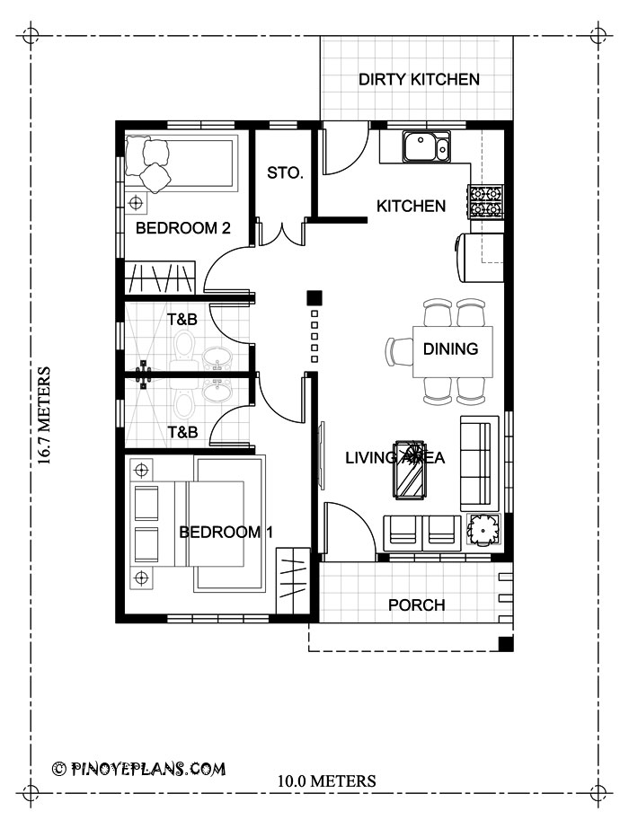 two bedroom small house design  shd