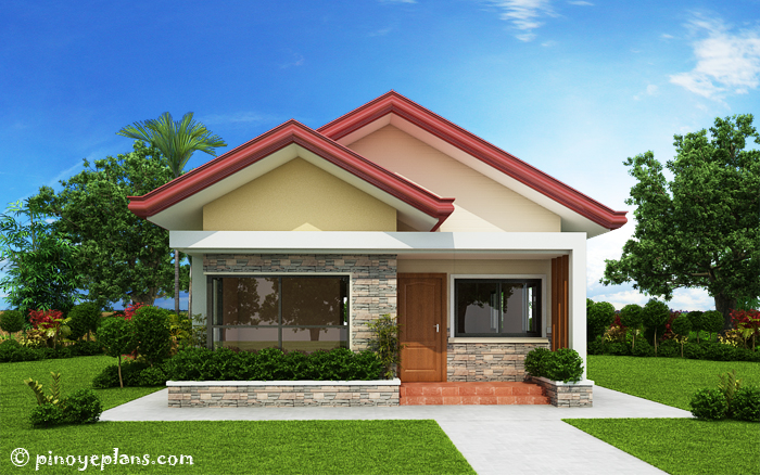 below are the four elevation views of single storey 3 bedroom house plan - Three Bedroom House
