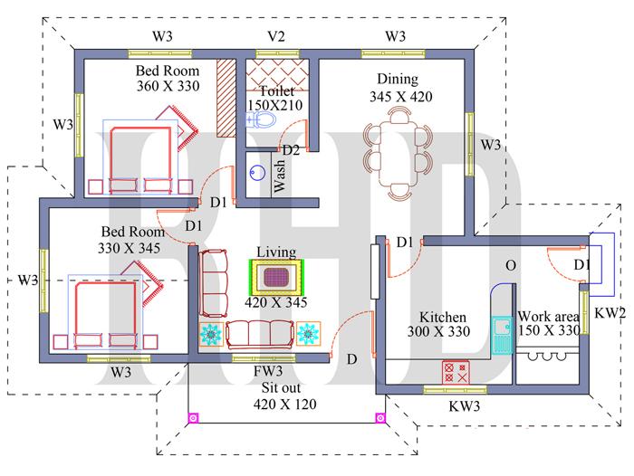 2 Bedroom Home Plan