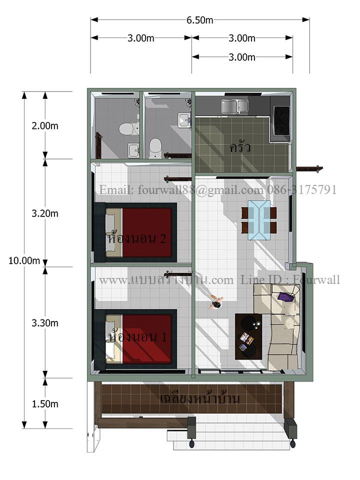 65 square meter 2 bedroom house pinoy eplans. Black Bedroom Furniture Sets. Home Design Ideas