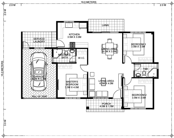 One storey bungalow house with 3 bedrooms pinoy eplans for One of a kind house plans