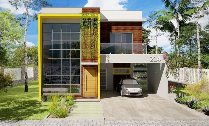 This modern three bedroom house is spacious and highly customisable, depending on your needs and preferences. [Image Credit: Plantas De Casas]
