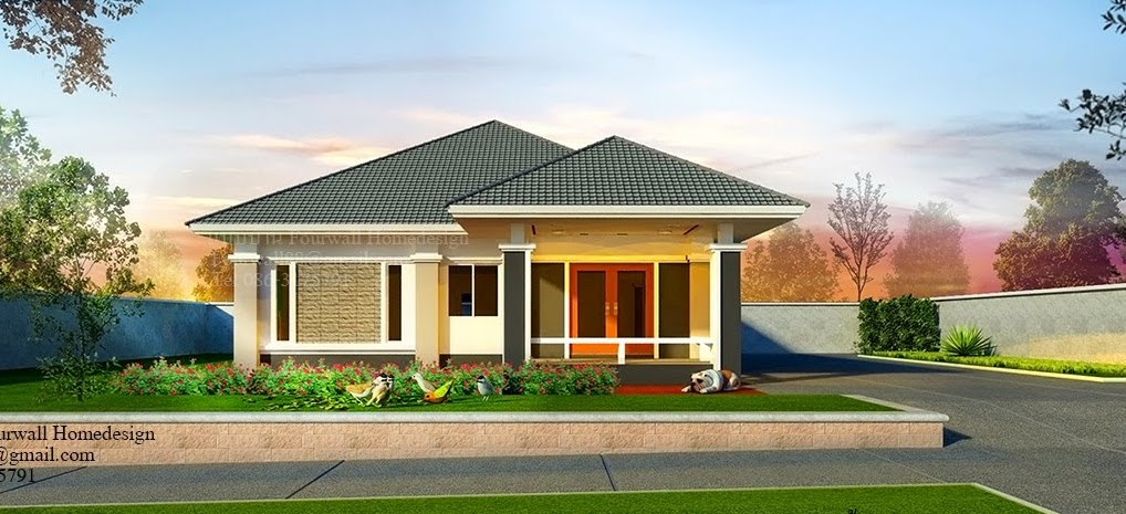 This single-storey house is fully customisable. [Image Credit: Fourwall Home Design]