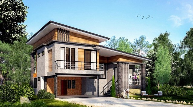 Modern Style One and a Half Storey House Plan | Pinoy ePlans on craftsman bungalow style homes, log cabin siding for homes, half brick half siding homes, 3-story homes,