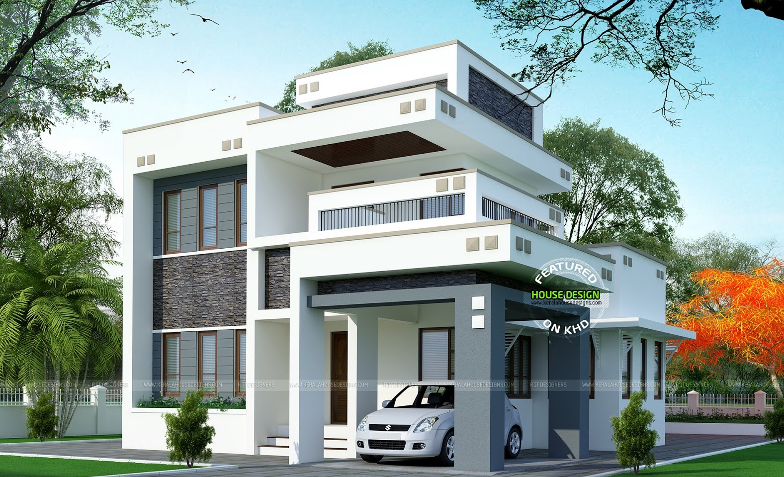 A three bedroom home combines versatility and function. [Image Credit: Kerala House Designs]