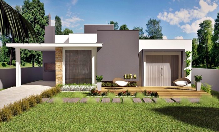 This modern style house is a space saver without sacrificing comfort. [Image Credit: Plantas de Casas]