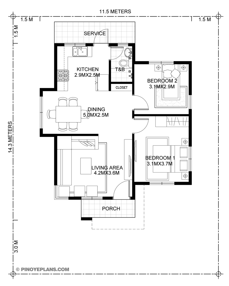 Katrina - Stylish Two Bedroom House Plan | Pinoy ePlans