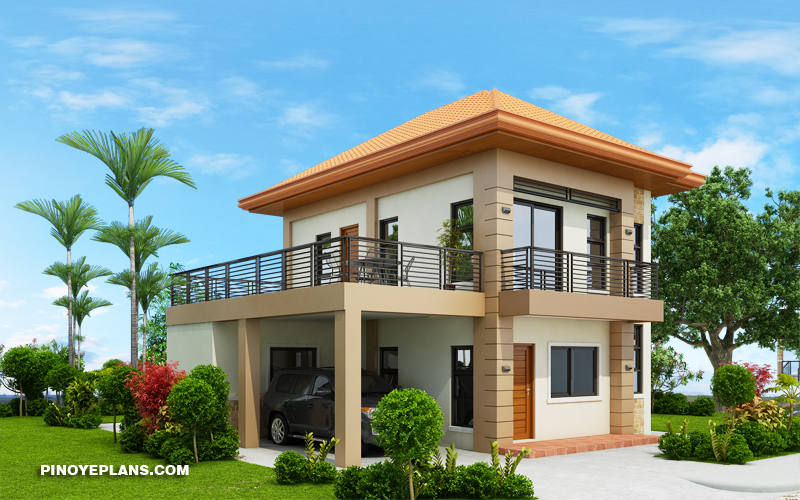 havana two storey house with spacious terrace pinoy eplans. Black Bedroom Furniture Sets. Home Design Ideas